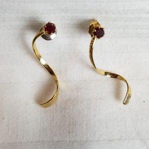 Gold Tone Ruby Swirl Earrings